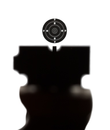 airgun: View of correct aiming into airgun sport target as it sportsmen watch