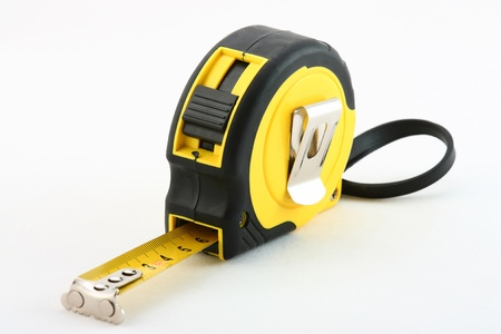 tapeline: Tape measure on neutral background Stock Photo