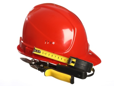snips: Construction equipment: helmet, tape line and snips; isolated on white