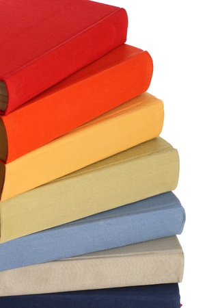 Group of colorful books from classical collection isolated on white photo