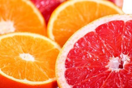 Close-up of a fresh orange, grapefruit and lemon Stock Photo