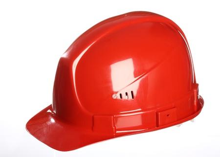 casco rojo: Casco rojo aislado en blanco