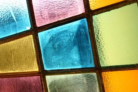 Stained-glass window; multicolored background