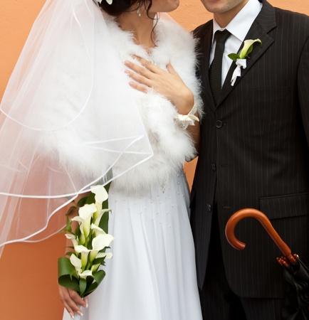 he she: Bride and groom. Wedding day