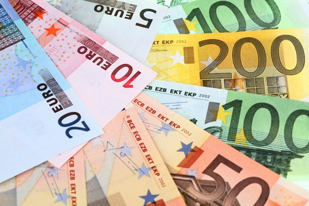 Close-up of different euro banknotes Stock Photo