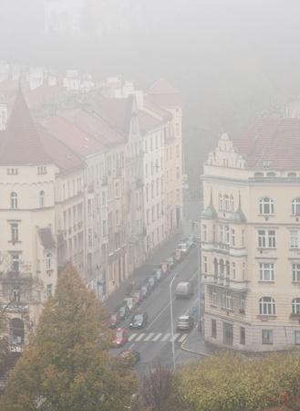 Autumn landscape of Prague. It is foggy. photo