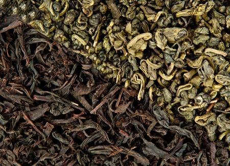 gunpowder tea: Black and green tea background