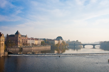 evening glow: General view of Prague; evening glow