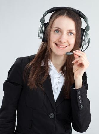 call center agent: Chiama center agent; clienti degli operatori donna di servizio con auricolare sorridente