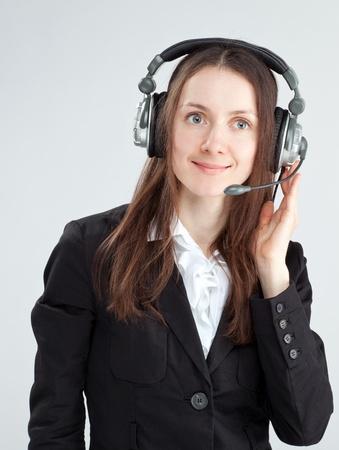 call center agent: Chiamare agente centro; clienti degli operatori donna di servizio con auricolare sorridente
