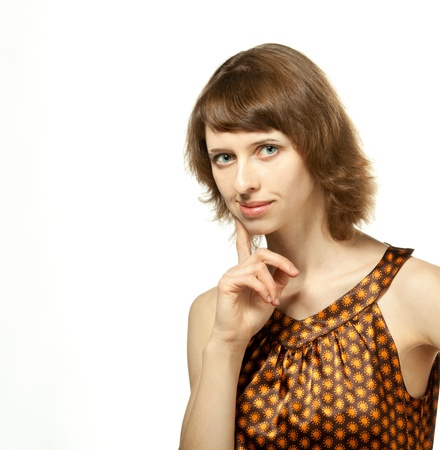 conceiving: The girl looking intent; white background
