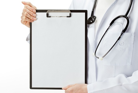Doctor holding clipboard with blank sheet of paper, you can place your text in copy space; isolated over white background