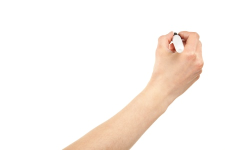 space to write: Closeup of a human hand writing with marker isolated on white; copy space