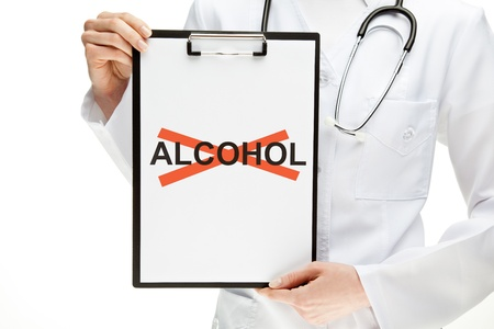 Doctor forbidding alcohol, closeup of doctors hands holding clipboard with crossed word ALCOHOL, healthy lifestyle concept isolated on white