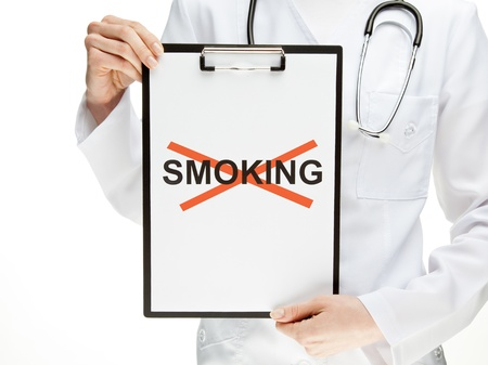 Doctor forbidding smoking, closeup of doctors hands holding clipboard with crossed word SMOKING, healthy lifestyle concept isolated on white photo