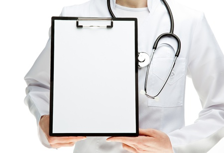 Doctor holding clipboard with blank sheet of paper, you can place your text in copy space; isolated over white background photo