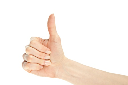 Hand showing thumbs up gesture isolated on white Stock Photo - 13037431