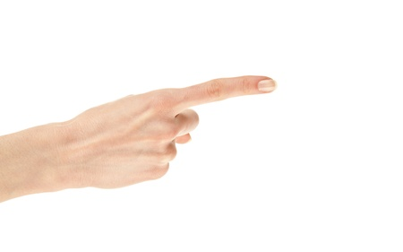 Finger pointing (copy space): human hand pointing at something with index finger isolated on white Stock Photo - 13039097