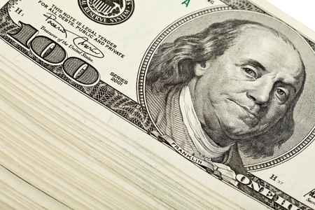 Bundle of dollar banknotes; closeup fragment of dollar money