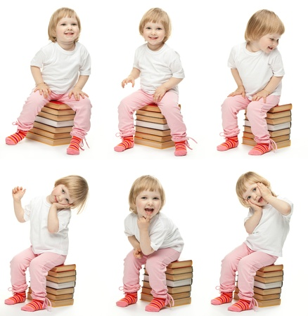 Collage image of cheerful child sitting on stacked books and posing; studio portraits of a baby girl on white background Stock Photo - 13587129