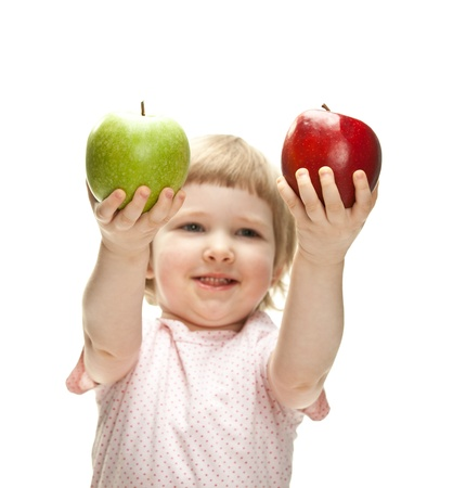 Happy child holding apples isolated on white Stock Photo - 13664924