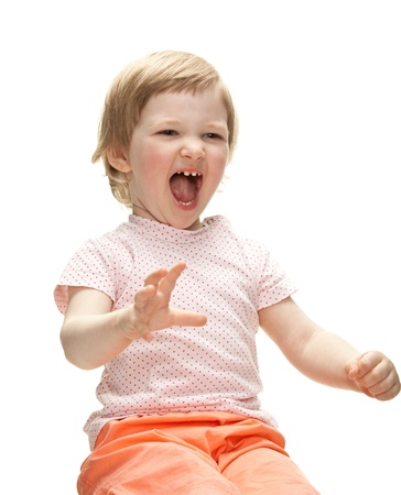 Playful laughing baby girl ready to catch something, isolated on white Stock Photo - 13846800