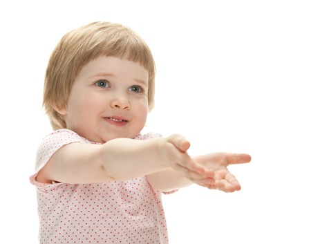 Happy playful child ready to catch something; isolated over white background Stock Photo - 13846570