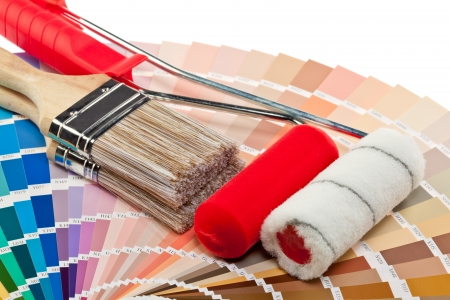 Painting tools and color samples for interior and exterior decoration works