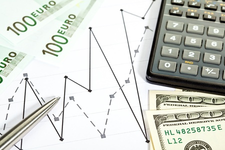 Analysis of financial situation: money, chart, calculator and a pen photo