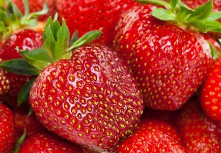 Many appetizing strawberries - background; studio shot photo
