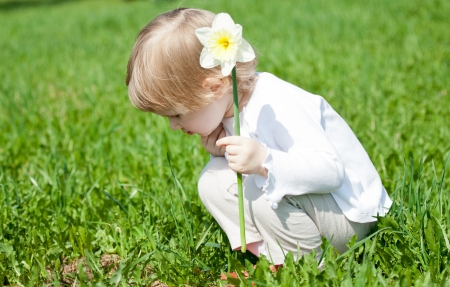 Adorable little child with a flower playing in summer grass photo