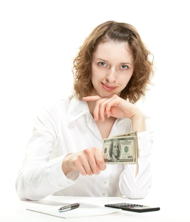 Attractive young businesswoman giving money to you; isolated on white photo