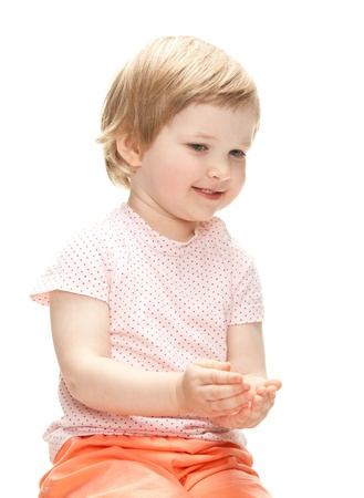 Playful little girl isolated over white  Stock Photo - 14250483