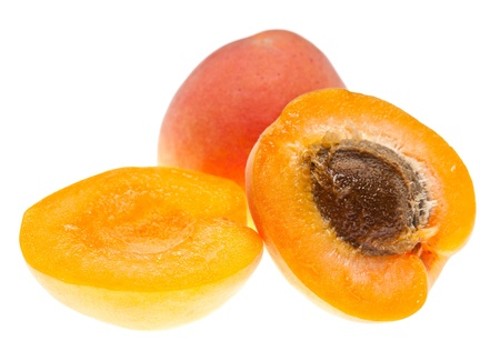 Macro shot of ripe apricots isolated on white Stock Photo - 14475878