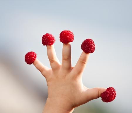 aliments droles: Petit enfant de la main � la framboise