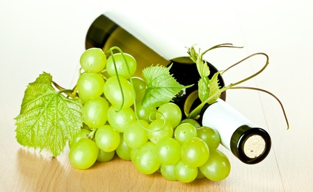 Bottle of seasoned white wine and branch of green grapes with grapevine photo