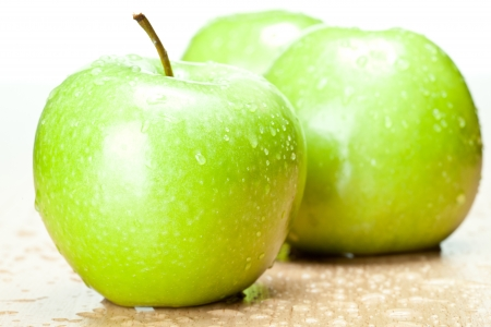 Fresh green apples - closeup shot Stock Photo - 14594475
