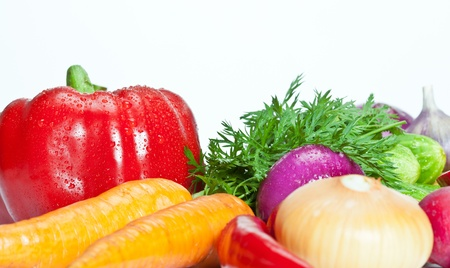Closeup of summer vegetable assortment photo
