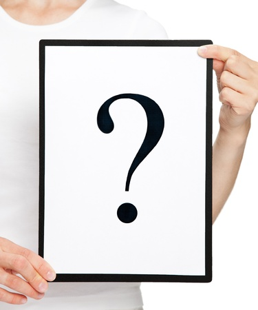 Woman's hands holding clipboard with question mark on white sheet of paper Stock Photo - 15677484