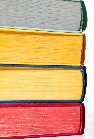 erudition: Stacked books - closeup shot of books collection Stock Photo