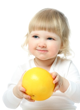 Happy little baby holding big grapefruit isolated on white Stock Photo - 15677464