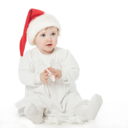 first miracle: Cute baby girl in Santa