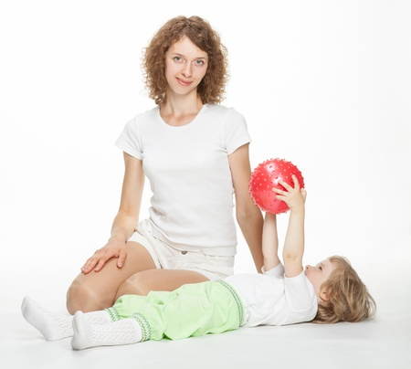 Mother doing sport exercises with daughter Stock Photo - 16035969