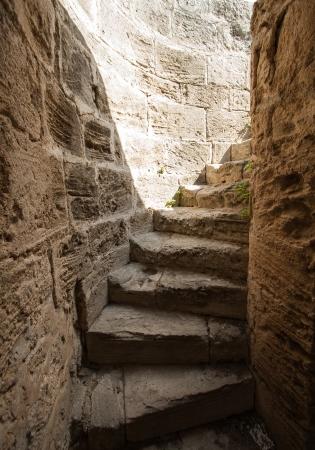 Wenteltrap van Bellapais Abbey, Cyprus Stockfoto