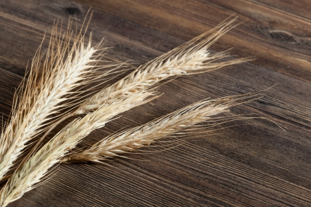 Wheat ears on wooden table Stock Photo - 16567205