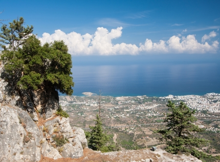 eminence: View from mountains of  Pentadactylos  Western half of Kyrenia Mountains , Cyprus