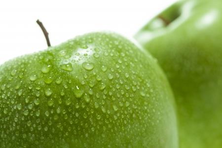 Green apples on white background Stock Photo