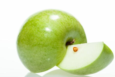 Sliced green apple on white background Stock Photo