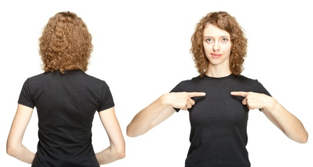 Young woman in black t-shirt isolated on white, rear view and full face; you can add your text on her t-shirt Stock Photo - 16984217