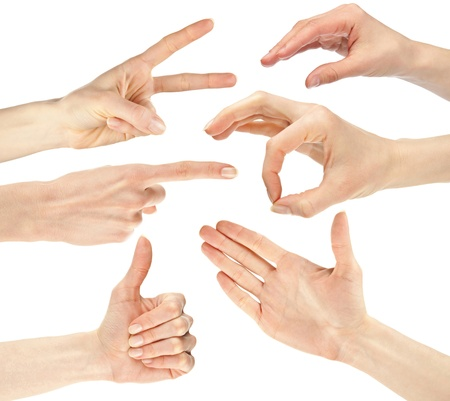 Collage of hands showing different signsgestures isolated over white background photo